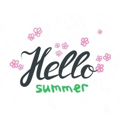 Hand lettering with phrase Hello Summer vector image
