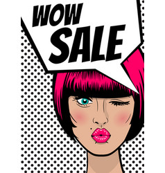 pop art woman wow sale banner speech bubble vector image vector image