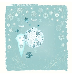 Retro New Year card with snowflakes vector image
