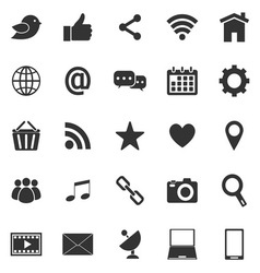 Social media icons on white background vector image vector image