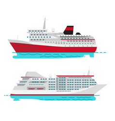 spacious luxury cruise liner and big red steamer vector image