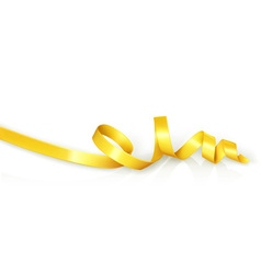 Yellow curled ribbon party vector image