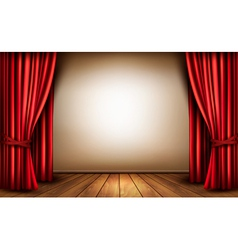 Background with red velvet curtain and a wooden vector image vector image