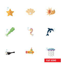 flat icon nature set of periscope octopus conch vector image vector image