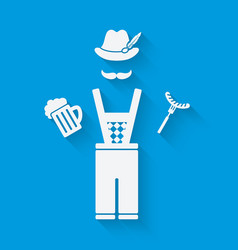 Man in national dress with beer mug and sausage vector image vector image
