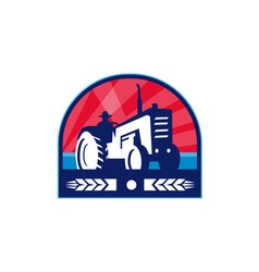 Organic Farmer Tractor Wheat Crest Retro vector image vector image