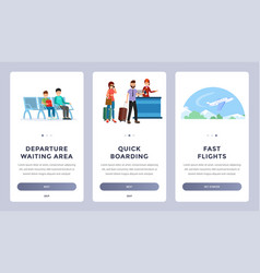 Airlines onboarding mobile app screens set vector