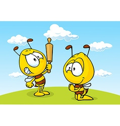angry bee - funny vector image