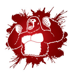 Angry king kong big gorilla vector
