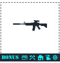 Assault carbine icon flat vector