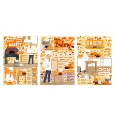 bakery pastry sweets baker shop desserts menu vector image