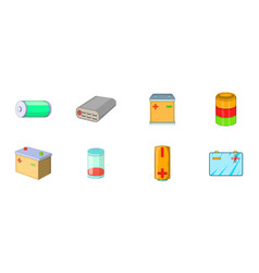 battery icon set cartoon style vector image