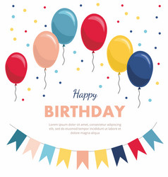 birthday greeting card with balloons flags vector image