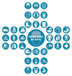 Blue cruciform health and safety icon collection vector image