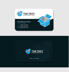 Business card with blue cargo container vector