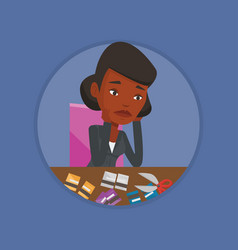 business woman bankrupt cutting her credit card vector image
