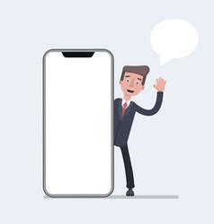 businessman talking beside big smart phone with vector image