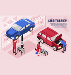 car repair isometric horizontal vector image