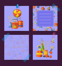 card notes set with pyrotechnics vector image