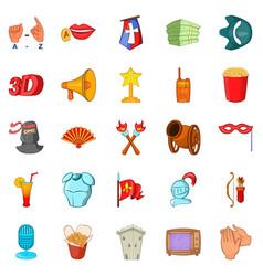 celebrity icons set cartoon style vector image