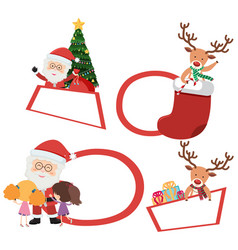 Christmas labels with santa and reindeer vector