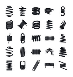 Coil spring cable icons set simple style vector