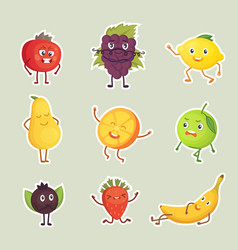 collection of fruits stickers isolated set vector image