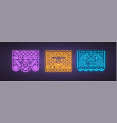 colorful papel picado collection in neon style vector image