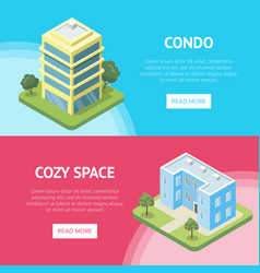 Condominium real estate in town flyers vector