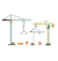 construction crane building equipment in flat vector image
