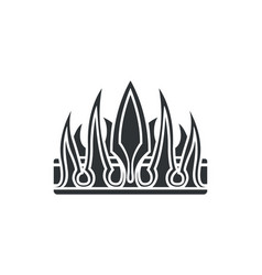 Crown with sharp long thorns inlaid with gemstone vector