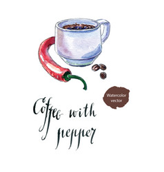 cup of black coffee with pepper vector image
