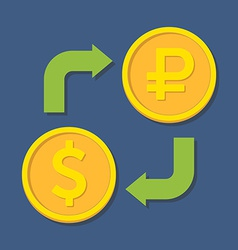 Currency exchange Dollar and Ruble vector image