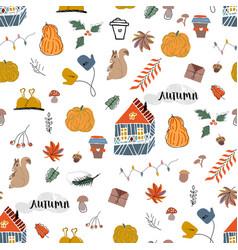 Cute autumn seamless pattern fall harvest season vector