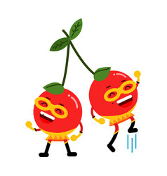 cute cartoon smiling cherries superheroes in masks vector image