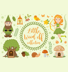 cute forest elf character set objects vector image