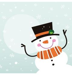 Cute happy cartoon Snowman with copy space vector