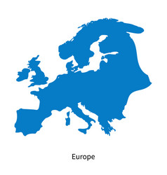 Detailed map of europe region vector