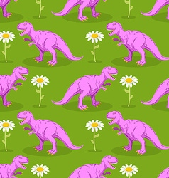 Dinosaur and flower seamless pattern Pink vector