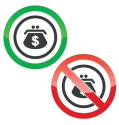 Dollar purse permission signs vector