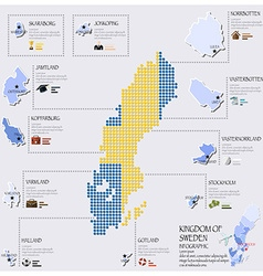 Dot And Flag Map Of Sweden Infographic Design vector