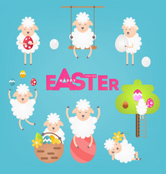 easter sheeps set vector image