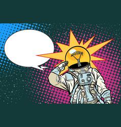 Executive astronaut head light bulb idea vector