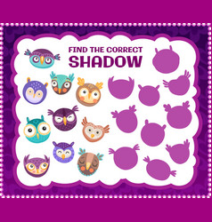 Find correct owl bird shadow kids riddle game vector