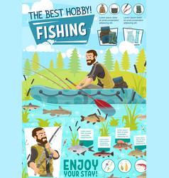 fisherman in boat with fish on rod fishing sport vector image