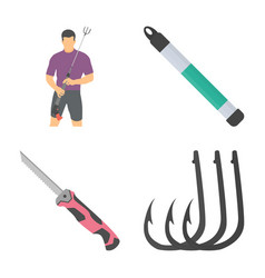 fishing flat icons set vector image