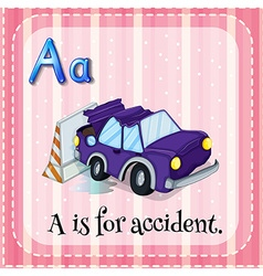 Flashcard alphabet a is for accident vector