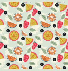 fruit lemonade with pitchers seamless pattern vector image