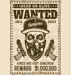 gangster skull with bandana on face wanted poster vector image