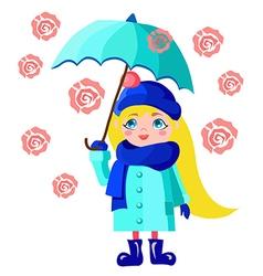 Girl with blue umbrella vector